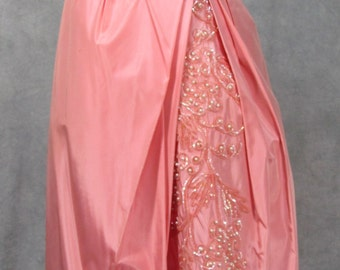 Emma Domb 1950s Vintage Dress - Pink Taffeta Sequin Tucks Stunning Design