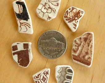 7 Small Brown  BEACH SEA POTTERY Shards Antique Scottish Earrings Charms