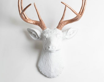 Faux Deer Head - The Imogen - White + Rose Gold Decor Antlers Resin Fake Deer Head- Resin Stag Head Wall Mount by White Faux Taxidermy