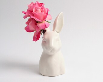 Bunny Vase - Ceramic Rabbit Head Vase - White Faux Taxidermy - Bud Vase - Animal Vase - Bunny Nursery Art - Woodland Creatures