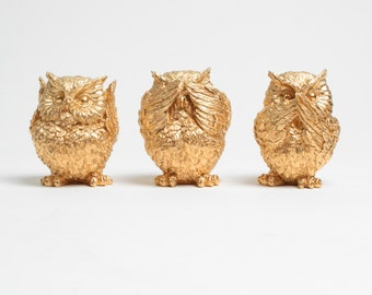 The 3 Wise Owls- See No Evil Hear No Evil Speak No Evil - Barn Owl Home Decor - Gold Owl Figurine - Tabletop Accent by White Faux Taxidermy