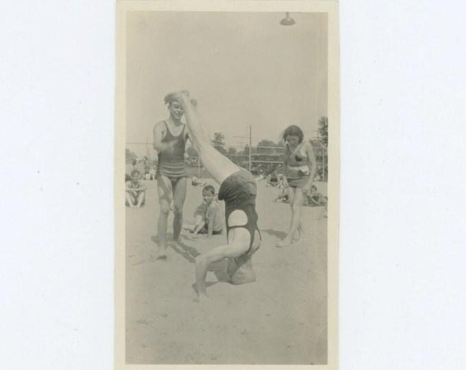 Beach Showoff, Chalfont, 1932 Vintage Snapshot Photo (66470)