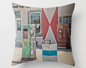 Small Throw Pillow Midway Station Rt. 66 Adrian Texas Retro Gas Pumps