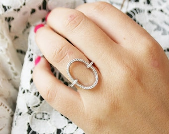925 sterling silver and cubic zirconia open oval ring- Chevron Ring, Stacking Rings, Cubic Zirconia Layered Ring