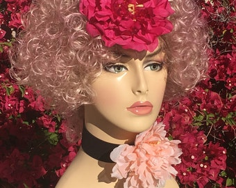 Effie Trinket Games Pink Flower Curly Custom Dyed Wig
