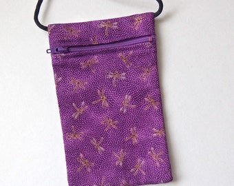 Pouch Zip Bag DRAGONFLY Fabric.  Great for walkers, markets, travel. Cell Phone Pouch Small Fabric coin Purse. Purple with gold accents.