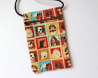 Pouch Zip Bag DOG Fabric.  Great for walkers, markets, travel. Cell phone pouch. small fabric purse. Dachshund Basset Dalmation poodle