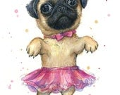 Pug in a Tutu Watercolor Painting Giclee Art Print, Animal Portrait, Dog Painting, Cute Baby Animal, Nursery Print, Pink, Girls Room Decor