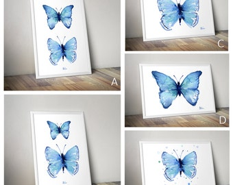 Watercolor Butterflies, Blue Butterflies Watercolor Art Print, Giclee, Beautiful Colorful Print, Various Styles