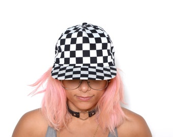 Vintage 80's Checkered Board Print Leather Strapback Hat