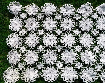 Vintage Crochet Tea Tray Cover, Table Cloth Flower Design Ivory Cream, Doily