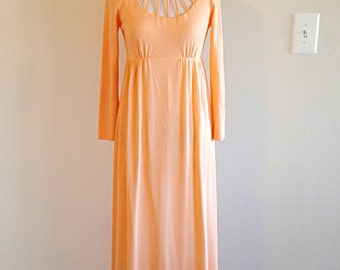 Pretty Peach Polyester Maxi Dress 1970s