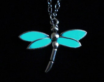 Dragonfly Necklace Glow In The Dark Pendant Antique Silver (glows aqua blue)