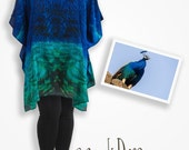 Jewel tone silk shift dress, royal blue handmade clothing peacock gift, plus size tops, bathing suit coverup, teal caftan dress cruise wear