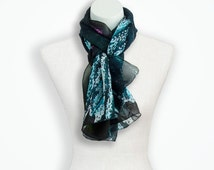 Butterfly wings silk scarf, teal scarf hannukah gift for niece, blue silk scarf 12th anniversary, animal photgraphy birthday gift for mom