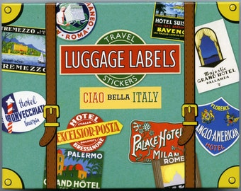 TRAVEL STICKERS - Italy Travel Stickers - Luggage Stickers - Vintage Luggage Labels - Italy Luggage Labels - Italia Luggage Stickers