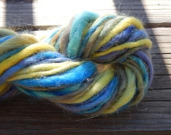 Hand spun yarn - hand painted Icelandic wool yarn - thick and thin, bulky - 44 yards, 4.2 oz.