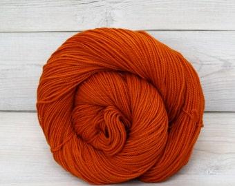 Celeste - Hand Dyed Superwash Merino Fingering Sock Yarn - Colorway: Pumpkin