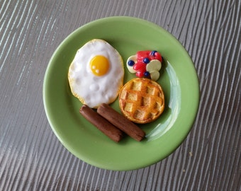 Eggs, Sausage, Waffles and Fruit Breakfast - Clay Doll Food