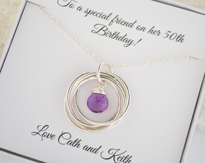 50th birthday gift for women, Gift for wife, 50th birthday gift for her, 5th Anniversary gift, Amethyst necklace ,Gift for mom and sister