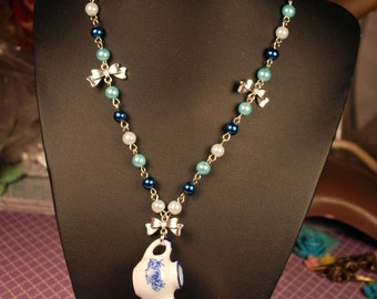 Lolita Tea Pot Necklace with Bronze Bows and Blue and white Pearls