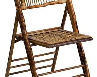 Vintage Bamboo Rattan Folding Chair