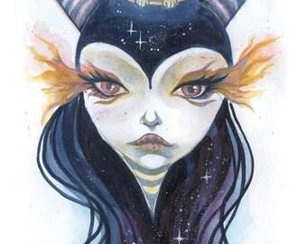 Cosmic Ambasador - small wall print, digital art print, small wall art, mini art print, trippy art, cosmic art, white rabbit, rabbit hole