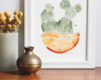 Potted Cactus Watercolor Painting - Orange & Green