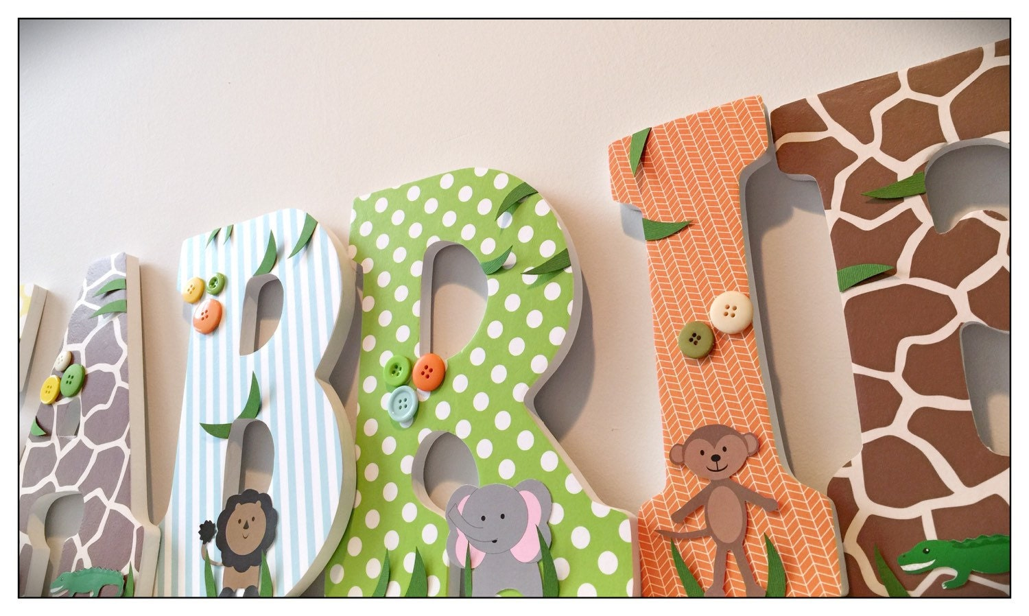 wood nursery letters safari letters animals boy baby boys. Black Bedroom Furniture Sets. Home Design Ideas
