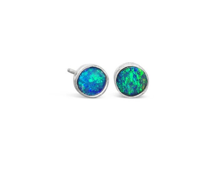 5mm Opal Doublet and Sterling Silver Stud Earrings