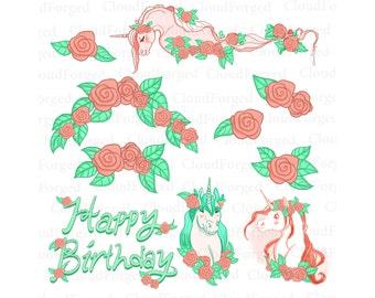 Blume, Clipart, ClipArt, Geburtstag Clipart, Einhorn Clipart, Einhorn  Einladungen, Geburtstags
