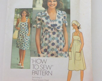 7292 Simplcity Size 10 Pattern How to Sew Young Junior Teens and Misses Dress Unlined Jacket Scarf Vintage 1975 Uncut