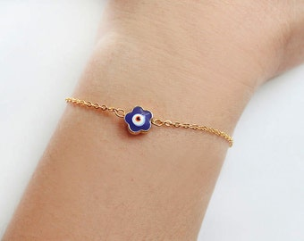 Nazar bracelet, gold evil eye, evil eye bracelet, turkish evil eye, gold chain, flower evil eye, protected bracelet, istanbul, bff gift