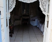 French Vintage , Vintage Lace Curtain, French Antique Lace , Crochet Curtain , Lace Valance , Crochet Valance