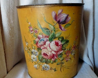 France Antique, French Vintage, Antique Tole, Hand-Painted Roses,1880 Roses,Napoleon III, Tole ,Tole Waste Paper Bin, French Vintage Roses,