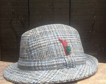 Donegal Irish wool tweed fedora, trilby. Size 7 1/8 (58)
