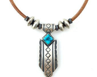 Sky Blue Turquoise and Silver Necklace