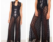 REDUCED was 185 now 100 amazing VINTAGE 60s/70s black lace palazzo flare leg jumpsuit onesie