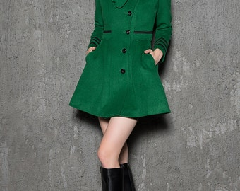 Green Short Jacket - Modern Warm Wool Winter Coat Mini Length with Asymmetrical Button Closure Handmade Designer Peacoat C718
