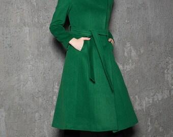 Emerald green coat, wool coat, coat, asymmetrical coat, long coat women, winter coats, long coat, green wool coat, womens outerwear C713