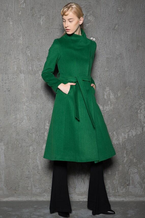 wool coat Emerald green coat belted coat women coat women
