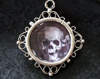 Edwardian Beveled Crystal Pendant / Memento Mori / Double Sided Sterling Silver