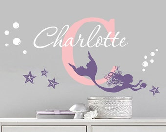 Mermaid Wall Decal - Mermaid Decal - Nursery Mermaid - Girls Room Decal - Mermaid Decor - Mermaid Wall Art