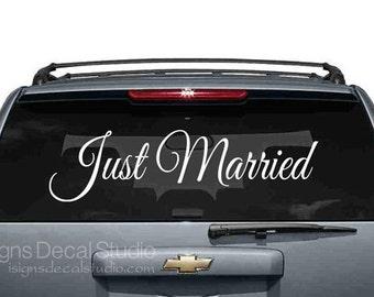 Just Married sticker voiture de mariage, Just Married sticker, autocollant voiture de mariage, signe de mariage