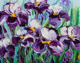 """Iris Art Purple Flower Oil Painting Floral Field Impasto Textured Palette Knife Original Art Small Canvas Ready to Hang 8x8"""""""