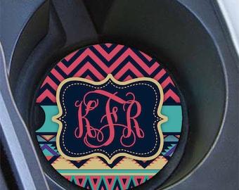 Monogram car coaster, Tribal pattern dark pinks aqua, Aztec car cup holder coaster, Chevron and Aztec car decoration for girls (1273)