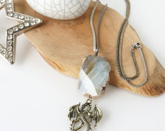 Dragon Necklace with Raw Agate Stone Pendant, One-of-a Kind Rough Stone Jewelry