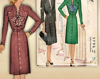 McCall 5796 1940s Dress Pattern Swing Era Tailored Professional Day Dress Bust 36 Unused Factory Folded