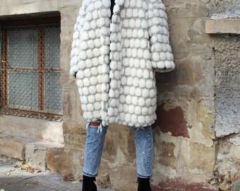 White Oversized coat/ Wool Coat/ Maxi coat/ Belted Coat/ Plus Size Coat/ Womens Coat/ Cardigan Coat