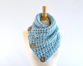 ON SALE Chunky Neck Warmer Cowl Scarf with Three Natural Coconut Shell Buttons // The North Bay // in Glacier